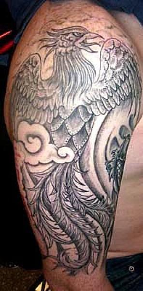 Tatuaje De Un Fénix En Blanco Y Negro En Subiendo Por El Hombro