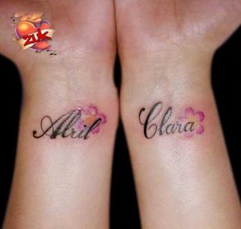 Tatuaje En El Antebrazo De Un Nombre Con Algunas Flores