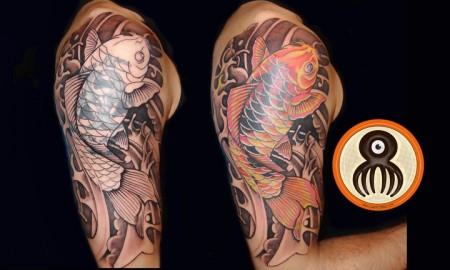 Tatuaje Japonés De Una Carpa O Koi En El Brazo