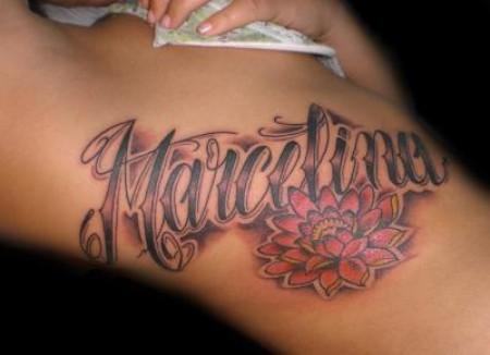 Tatuaje Del Nombre Marcelina Y Una Flor