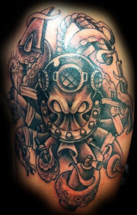 tatuaje de un pulpo con traje de buzo tatuajes de pulpos