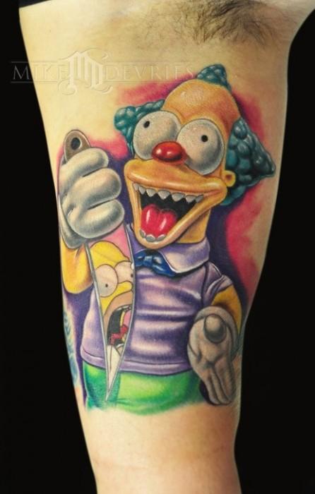 Tatuaje de Krusty el payaso, de los Simpsons