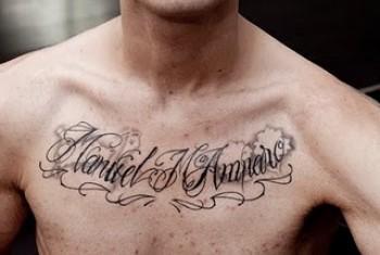 Tatto De Dos Nombres En El Pecho