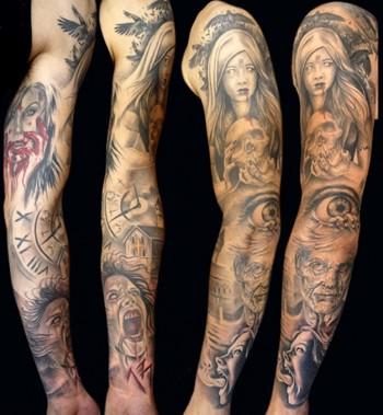 Tatuaje de manga entera con imagenes de terror tatuajes - Mangas de tattoo ...