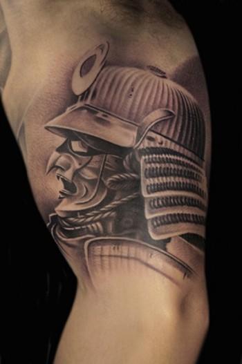 Tatuaje De Una Mascara De Guerrero Samurai