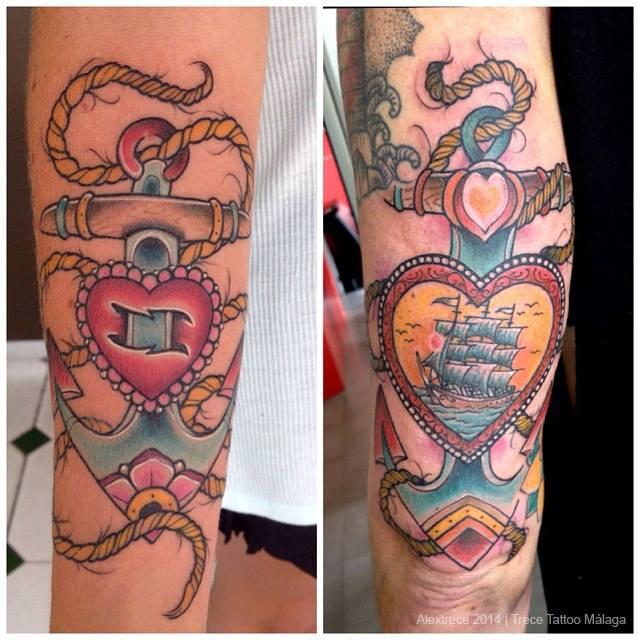 Tatuaje Para Parejas De Anclas Con Corazones
