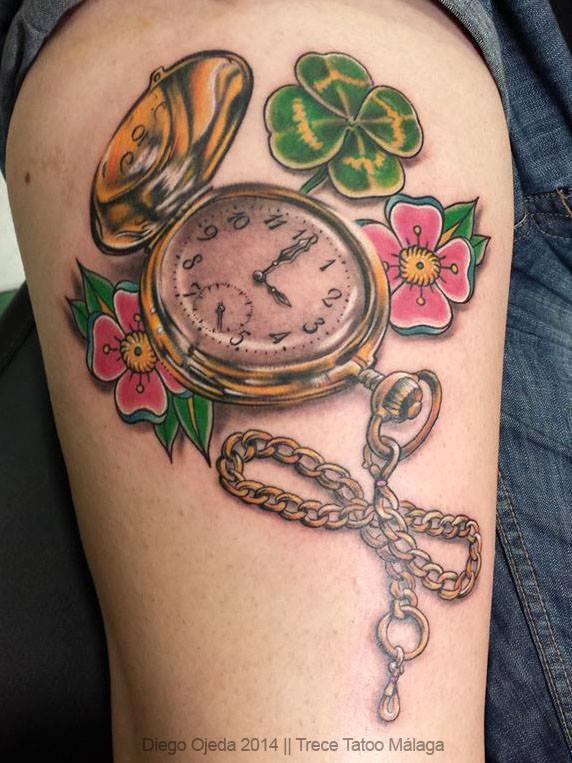 Tatuajes De Mujer Reloj De Bolsillo Alianzas De Boda