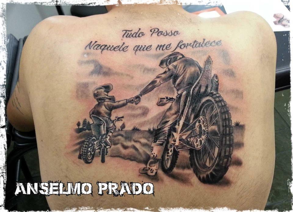 Tatuaje De Padre E Hijo En Moto
